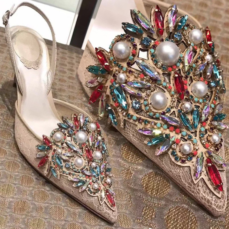 Woman Wedding Shoes High Heel Crystal White Pearl Decor High Heels Pumps Pointed Toe Feamle Stiletto Heels Party Dress Shoes new arrival blue and white porcelain pattern stiletto heels pretty women glittering crystal pointed toe pumps high quality shoes