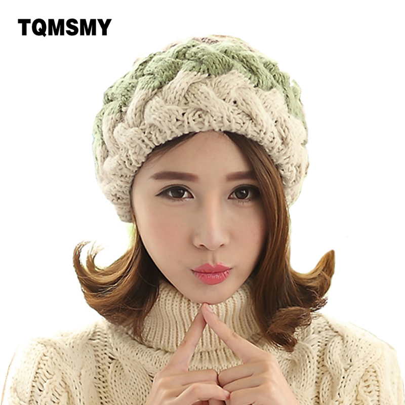 Fashion winter berets for women knitted wool flat caps french style vintage real rabbit fur ball beanie Hat ladies classic beret knitting