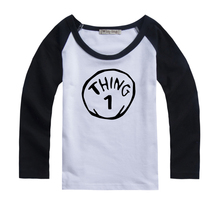 Thing 1 Symbol Design Printed Kids T-Shirt Girls Boys Gift Tops Red or Black or Blue Sleeve Spring
