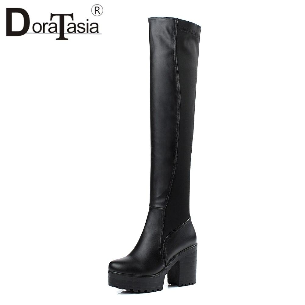 Stivali Tacchi Scarpe nere sopra ginocchio le Super Big 2019 Doratasia il 9 al Square Platform 33 High per Fashion 43 ginocchio Size signore 5 Cm 7nxSOgCqnw