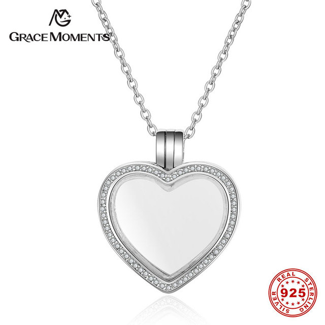 Grace moments 100 real 925 sterling silver floating heart memory grace moments 100 real 925 sterling silver floating heart memory pendant s925 silver jewelry women aloadofball Image collections