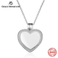 Grace Moments 100 Real 925 Sterling Silver Floating Heart Memory Pendant S925 Silver Jewelry Women Medium