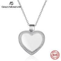 Grace moments 100% real 925 plata esterlina corazón flotante colgante de memoria S925 mujeres joyería de plata mediano pequeñas Locket SA004