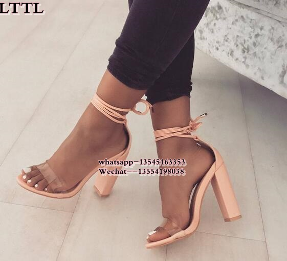 Transparent Heel gladiator sandals women black/Pink Lace up Thick high heels sandals women Open Toe Party sandals for ladies luxury women shoes high heel sandals lace up heels open toe crystal embellishment laides party nude sandals fashion footwear