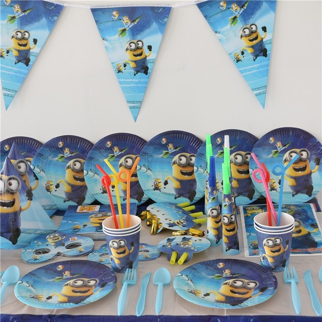 Happy Birthday Party Minions Theme Cups Tablecloth Decoration Banner Baby Shower Kids Favors Paper Napkins Mask Cartoon Supplies