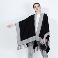 Plain color Women's Autumn Winter Poncho Scarf Fashion Blanket lady Shawl Tassel Cape pashimina border ruana retail LL190552