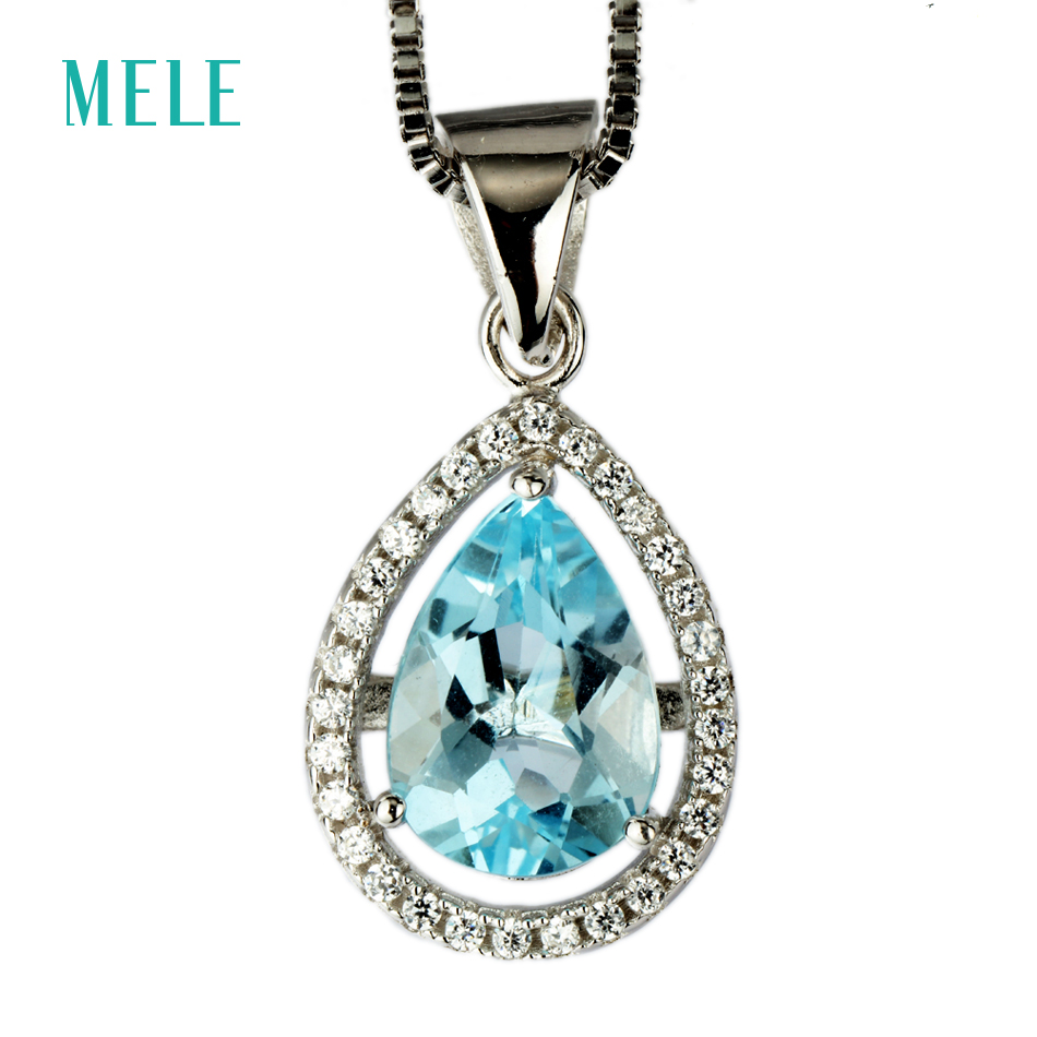MELE Natural blue topaz silver pendant, pears 7mm*10mm, beautiful blue topaz  color, brief design, romantic styleMELE Natural blue topaz silver pendant, pears 7mm*10mm, beautiful blue topaz  color, brief design, romantic style
