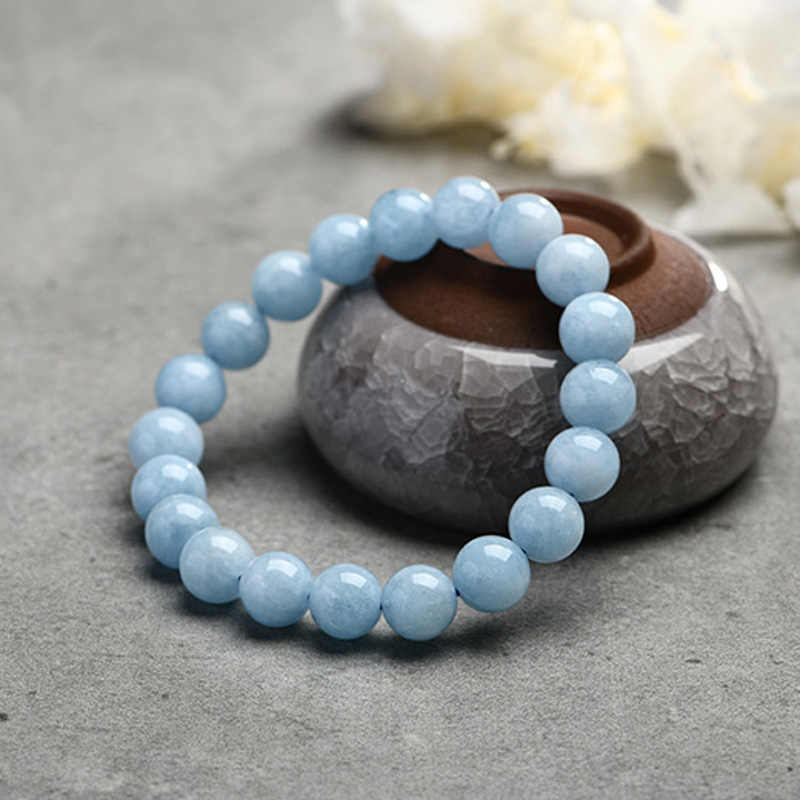Natural Aquamarine Bracelet Single Circle Crystal Bracelet Jewelry 6-10mm Beads Romantic Casual Crystal Yoga Bracelet