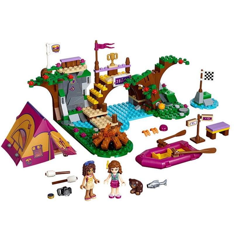 41121 325pcs Friends Series Adventure Camp Rafting Model Building Block set Bricks Toys For children Gift Bela 10493