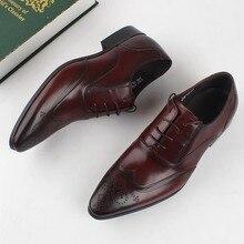 QYFCIOUFU Designer Brand Genuine Leather Men Shoes Wedding Oxfords Formal Shoes Pointed Toe Men Dress Shoes Famous Brogues Shoes