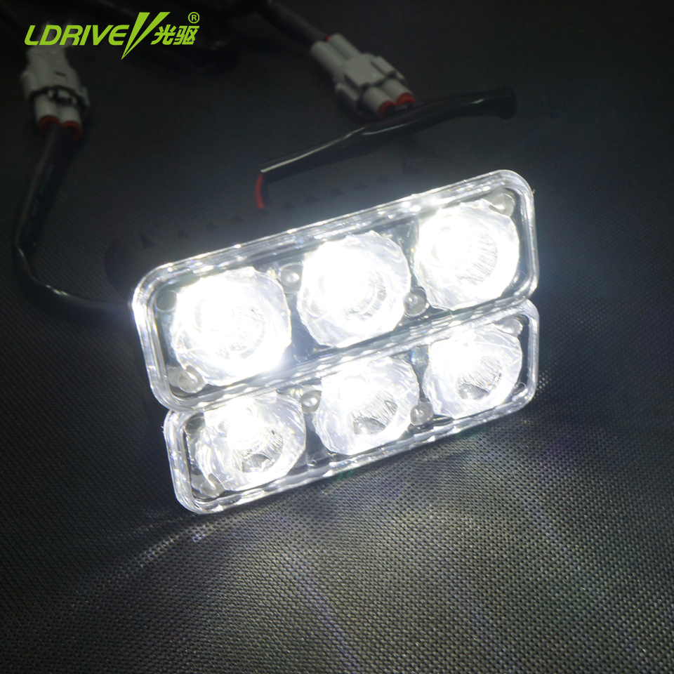 2*3 LED Universal Waterproof Auto Car Headlight High Power Car Daytime Running Light DRL Daylight Lamp Light Source ABS 12V high quality h3 led 20w led projector high power white car auto drl daytime running lights headlight fog lamp bulb dc12v