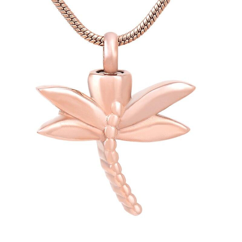 IJD8120 prix bas en gros libellule crémation bijoux en acier inoxydable cendres colliers pour cendres femmes mémorial pendentif à breloques