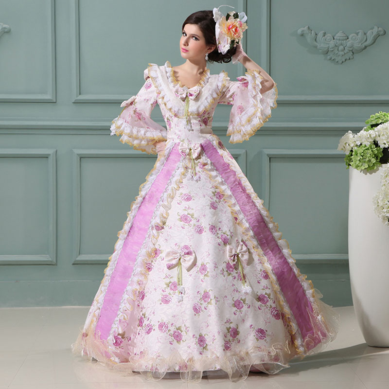 18th Century Royal Pink and Purple Rococo Baroque masquerade Dresses Square Collar Bow Lace European Court Dance Ball Gowns