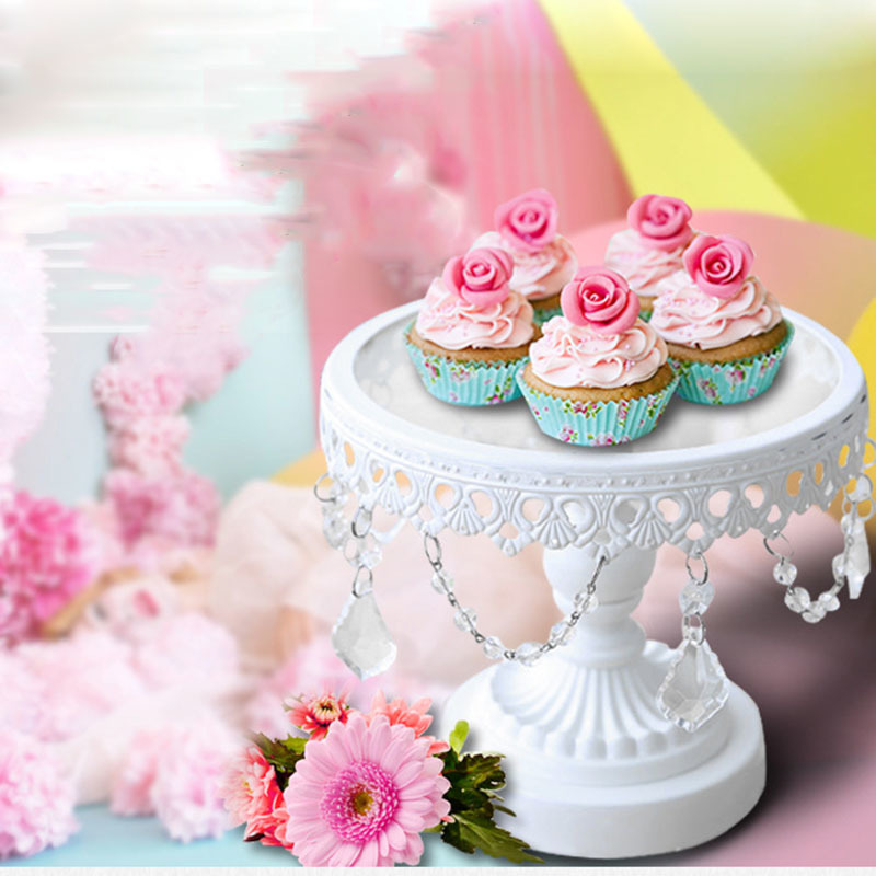 Glass cake stand white iron and glass cake stand wedding party& event cake accessory decoration supplier cake tools