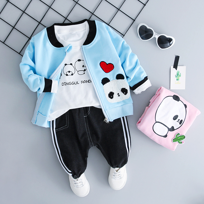 Baby boy clothes 3pcs Set 0-3y Autumn 2018 New Fashion Style Cotton O-Neck Girls Clothes with Panda Print Boys Clothing Sets 2016 spring girls clothes girls clothing sets new arrival female child flower print o neck pullover short skirt set baby twinset