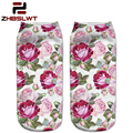 ZHBSLWT  Harajuku Style Brand Socks 3D Printed  Women Socks  Low Cut Ankle Socks Summer Flower Colour Women's Casual -189