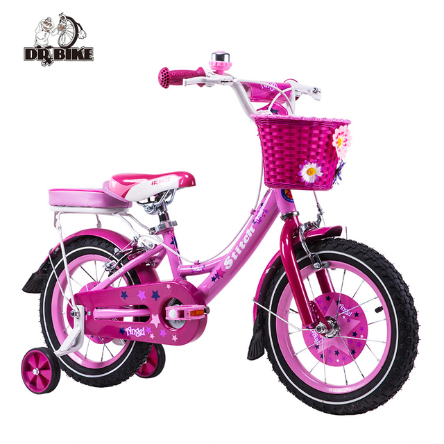 5cad122899c Dr Bike 12 inch Stitch Mermaid Pink Girls Bike Children Bicycle with Basket  and Rear Shelf for Three to Six Aged Girl