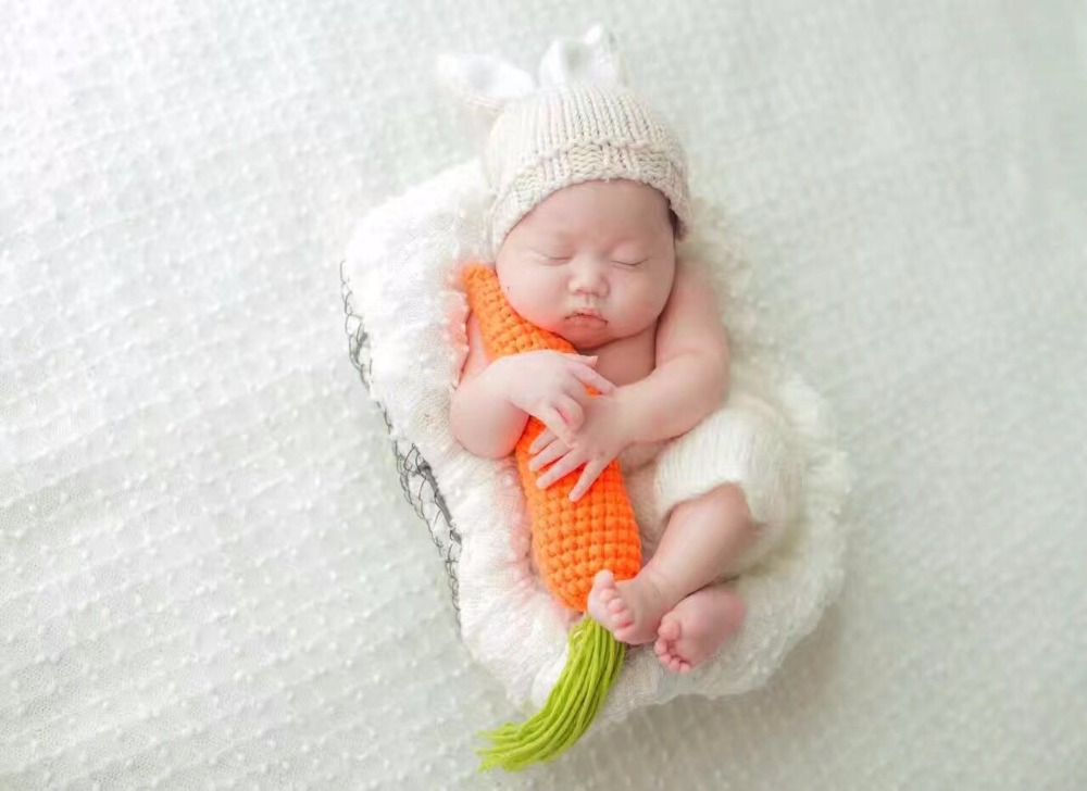 neonatal crochet mini bunny clothing modelling milk cotton knitted garments and toys baby photography radish