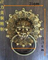 Argent tête de lion poignée Shoutou poignée de porte heurtoir de porte kylin Chinois antique en laiton raffiné souhait heureuse de faire de l'argent