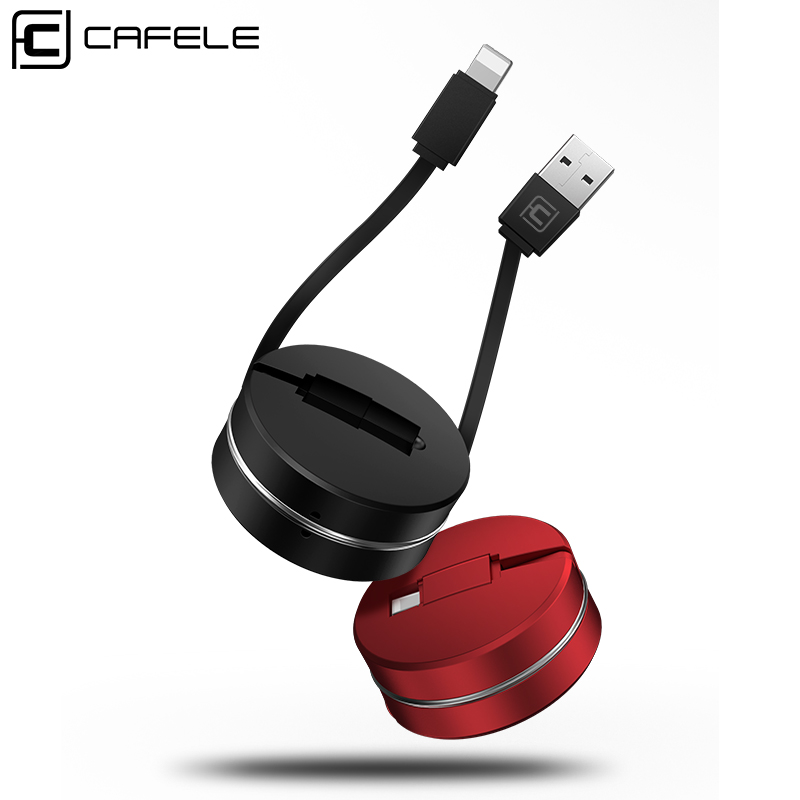 CAFELE 1m Retractable Phone Cable For iPhone Xs Max Xr X 8 7 6 ipad Mini Usb Cable Charger Data Sync Cable For IOS 12 11 10 9-in Mobile Phone Cables from Cellphones & Telecommunications on AliExpress
