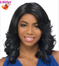 afro synthetic wigs medium body wave black middle part wigs perruque cheveux synthetic natural looking african american wigs