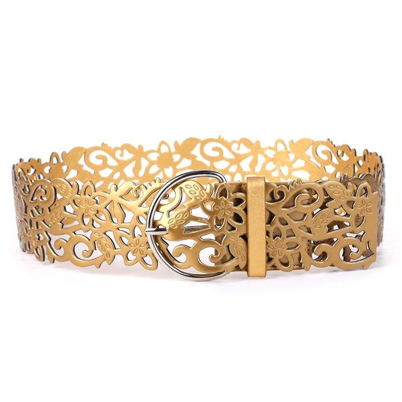 Hot Fashion Womens Lady wide   Belt   stretch hollow Buckle Waist band Waist   belt   silver gold   Belt   for dress woman clothing decos