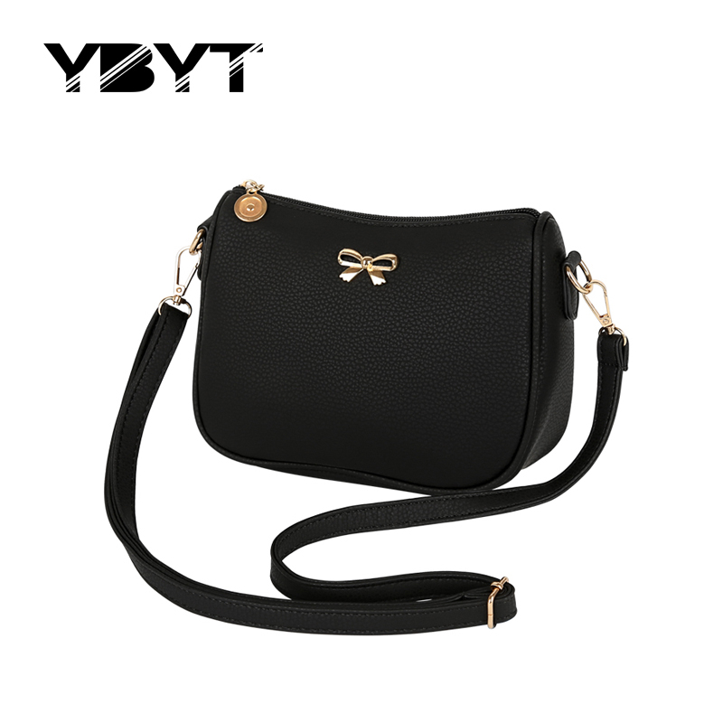 YBYT brand 2017 new bow casual women satchel hotsale sequined simple mobile pack ladies clutch shoulder messenger crossbody bags