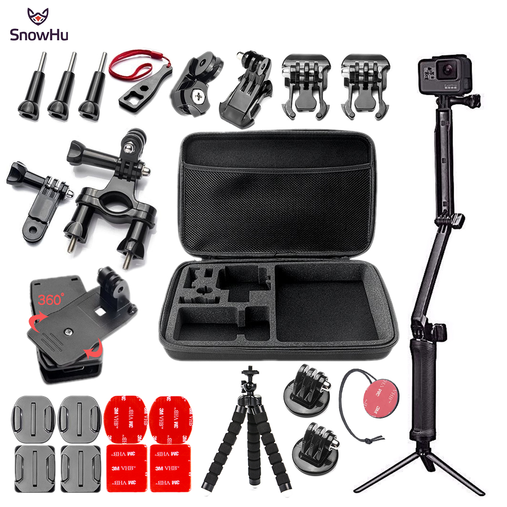 SnowHu Pour Gopro hero camera Action accessoires Ensemble Grand sac Selfie bâton Adaptateur Pour Go pro hero 7 6 5 EKEN h9 xiaomi yi GS68