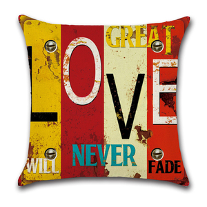 Image 2 - Mediterranean Punk Letters Printed Linen Cushion Cover for Bar Restaurant Living Room Home Kitchen Chair Decorative Pillows Case