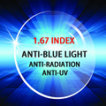 Índice de 1.67 PC unti-raios UV unti-os raios de luz azul lentes de prescrição óptica de alta qualidade para o trabalho do computador assistindo TV