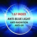 1.67 индекс ПК унти-синий свет лучей унти-УФ лучей оптический рецепту линзы высокого качества для работы за компьютером просмотр ТЕЛЕВИЗОРА
