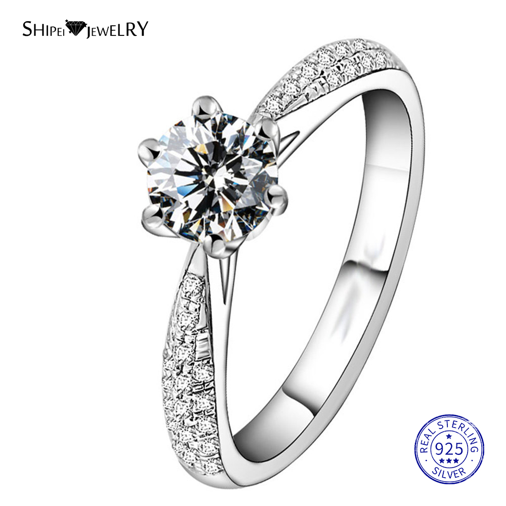 ShiPei 100% 925 Sterling Silver 1.4ct Created Moissanite Ring Engagement Wedding Ring For Women Anniversary Gift Fine Jewelry