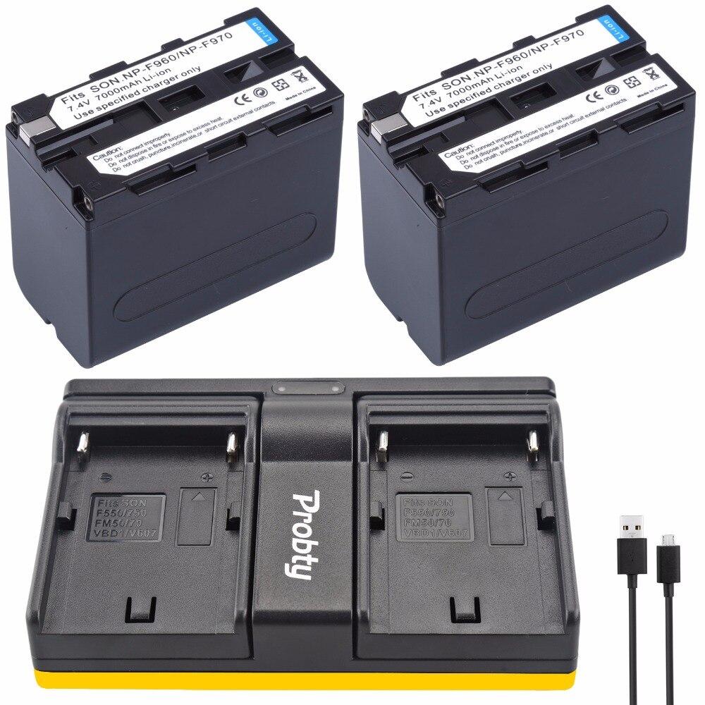 2*7000 mAh NP-F960 NP-F970 baterías/F960 Paquete de batería + 1 * cargador para Sony NP-F550 NP-F770 NP-F750 F960 F970 envío gratuito