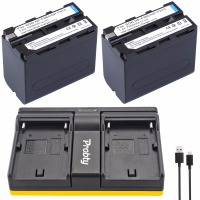 2 7000mAh NP F960 NP F970 Batteries F960 Battery Pack 1 Charger For Sony NP F550