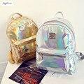 2017 coreano senhoras Elegantes holográfica mochilas estudante mochilas sacos de Escola para adolescentes Mochila Feminina pequeno bagpack