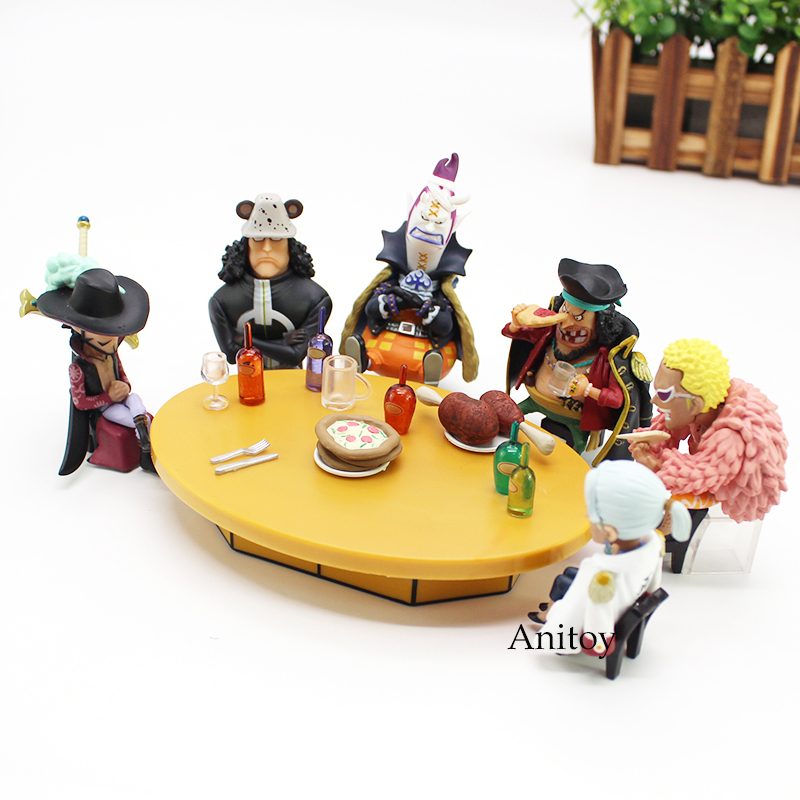 One Piece Figure One Piece Anime Seven Warlords of the Sea Conference Table set & Members Action Figure Toys 6-10cm