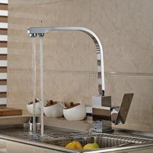 Полированный Хром Двойного назначения Чистой воды Прямая Питьевой Воды и Холодной и Горячей Воды Смеситель Для Кухни