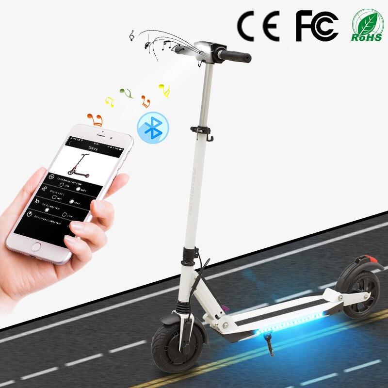 SUPERTEFF 8 polegada pneus scooter elétrico música Bluetooth App duas rodas inteligente scooter scooter scooter e-KUGOO com LED avisar luz