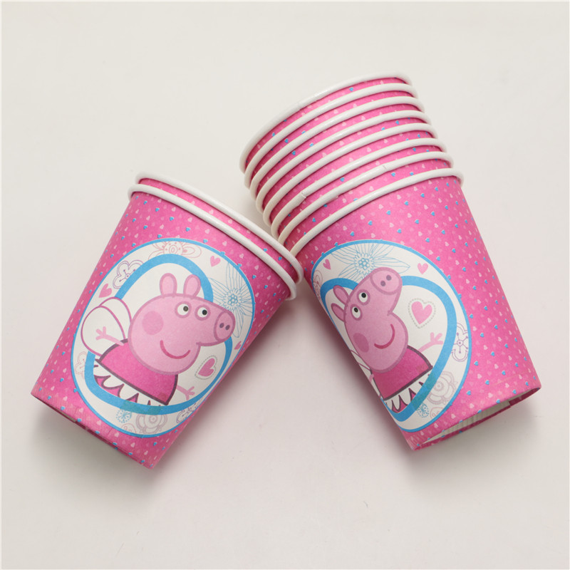 10pcs/lot happy birthday party decoration paper <font><b>cups</b></font> cartoon Kids <font><b>favors</b></font> Party tableware <font><b>peppa</b></font> <font><b>pig</b></font> theme baby shower supplies