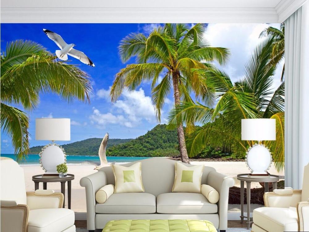 custom mural 3d wallpaper coconut palm beach hawaii photo wall paper decor painting 3d wall. Black Bedroom Furniture Sets. Home Design Ideas