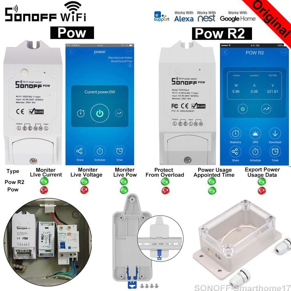 Sonoff Pow R2 16A Smart Wifi Switch Power Monitor Measurement Home Energy Wireless Remote Voice Control Home Home Automation