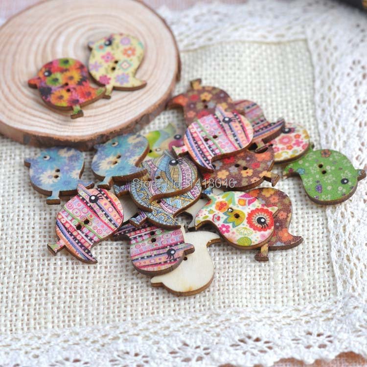 Mixed cute bird wooden decorative buttons for sewing for Decorative pins for crafts