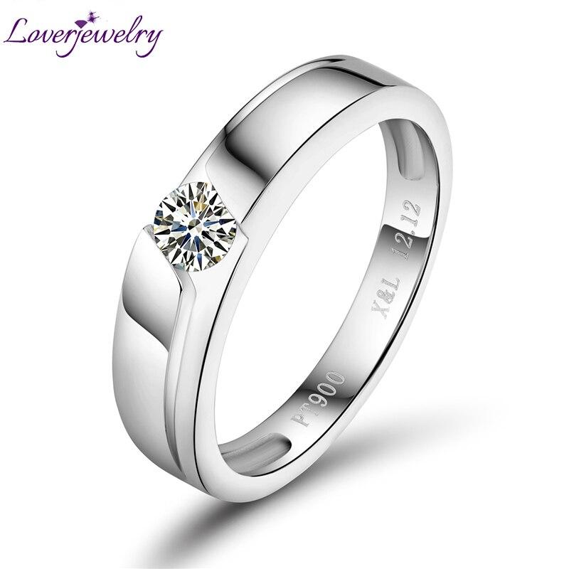 цена Stunning 0.20ct Promised Diamond Wedding Cert Diamond In Platinum PT900 Wedding Fine Jewelry For Couple WU141