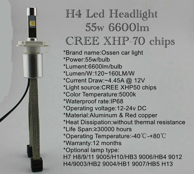 Ossen P70 H4 LED Headlight Hi Lo 55w 6600lm 5000k xenon white Head light H7 H8 H9 H11 9005 HB3 H10 9006 HB4 9012 H13 Headlights 6