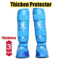 Removable Karate Shin & instep Guard KickBoxing Muay Thai leg Protector MMA Gear Karate Sparring Taekwondo Fitness Equipment