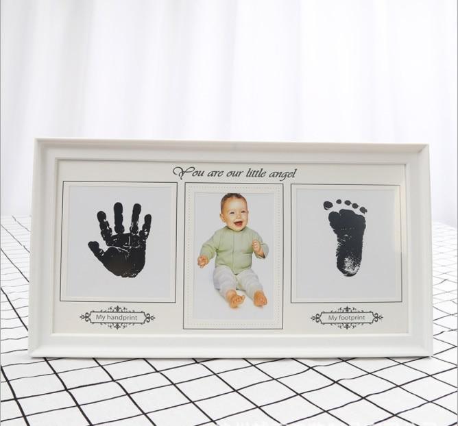 Creative mains et pieds d'encre imprimé photo cadre bébé naissance commémorative photo combinaison de bureau décoration livraison gratuite