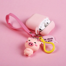 Cute Cartoon Pink Pig Keychain Key Ring Headphone Earphone Case For Apple Airpods Accessories cute silicone cover