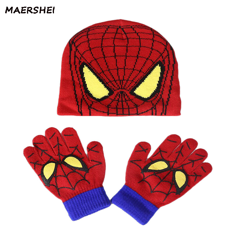 MAERSHEI herbst und winter kinder stricken hut jungen und mädchen spiderman cartoon warm caps Handschuhe kinder hut handschuhe + hut baby mütze image