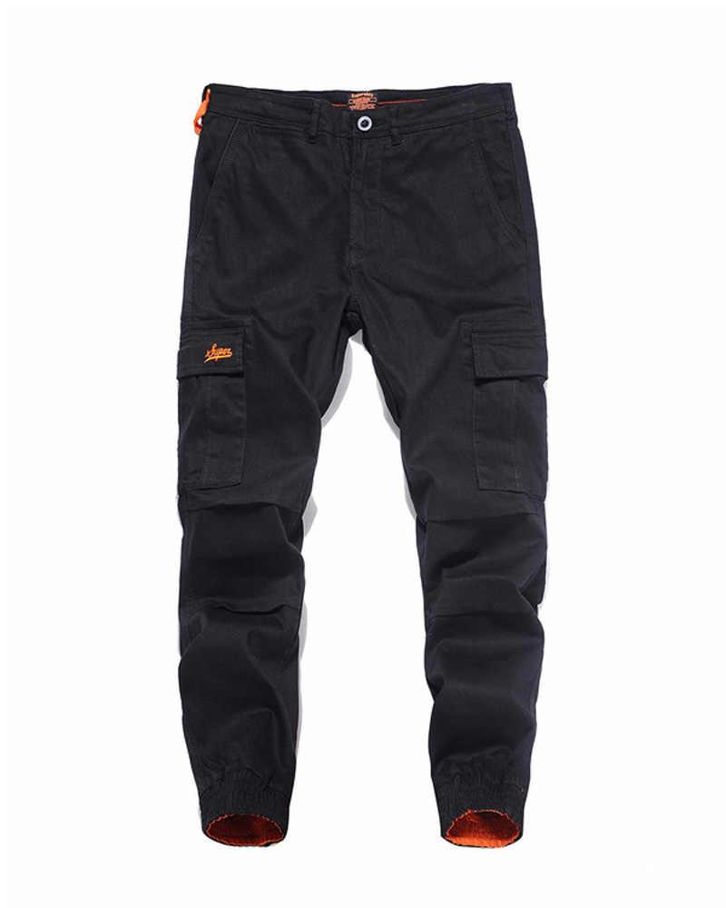 Yeni Varış Moda Erkek Kot Pantolon koşucu pantolonu Ince Bacak Açık Siyah Renk Denim Ayak Bileği Bantlı Kot Erkekler Marka Büyük Cep Kargo pantolon