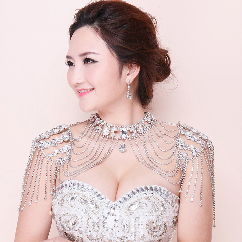 цена 2018 Trendy Handmade Shoulder Necklace Rhinestone Crystal Bridal Jewelry Pearl Women Pageant Prom Wedding Shoulder Jewelry Chain